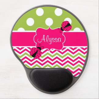 Pink Green Dots Chevron Ladybut Personalized Gel Mouse Pad