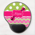 Pink Green Dots Chevron Ladybut Personalized Gel Mouse Mats
