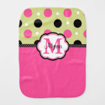 Pink Green Dots Personalized Burp Cloth