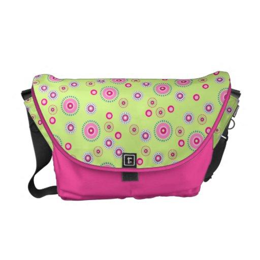Pink & Green Dotted Dots Messenger Bag