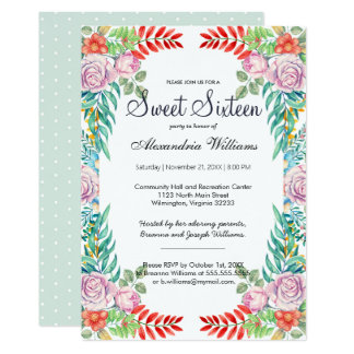 Pink green elegant polka dots floral Sweet Sixteen Card