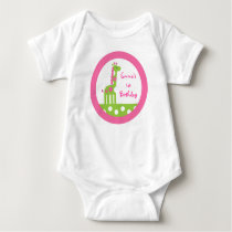 Pink Green Elephant Baby Birthday T-Shirt