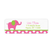 Pink Green Elephant Baby Shower Address Labels