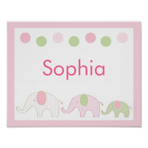 Pink And Green Wall Decor For Nursery : Pink green elephant nursery wall art name print zazzle