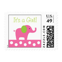 Pink Green Elephant Personalized Postage Stamps