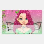 Pink & Green Faery Pixel Art Rectangular Stickers