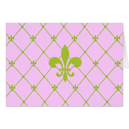 Pink & Green Fleur de Lis Pattern Greeting Card