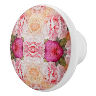 Pink Green Floral Abstract Ceramic Knob