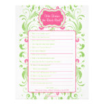 Pink Green Floral Bride Best Bridal Shower Game Customized Letterhead