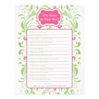 Pink Green Floral Bride Best Bridal Shower Game Letterhead