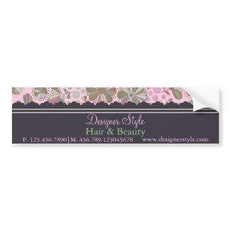 Pink & Green Floral Bumper Sticker bumpersticker