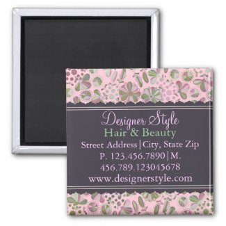 Pink & Green Floral Business Magnet magnet