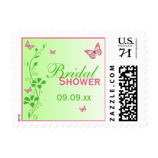 Pink Green Floral Butterfly Bridal Shower Postage