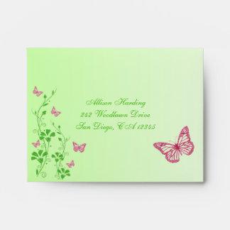 Pink Green Floral Butterfly Envelope for RSVP's