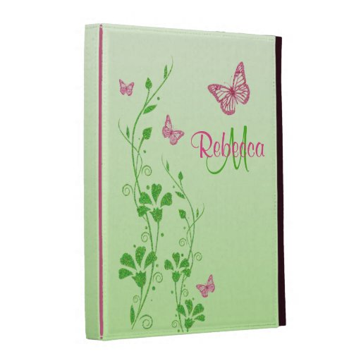 Pink, Green Floral Buttterflies iPad (1,2,3) Folio iPad Cases