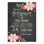 Pink & Green Floral Chalkboard Retirement Party Card