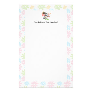 Pink/Green Floral Faith Hope Love Stationery