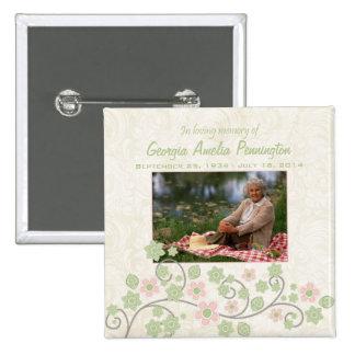 Pink green floral in memoriam photo pinback button