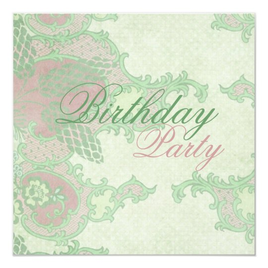 Pink & Green Floral Lace Birthday Invitation