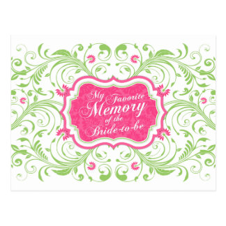 Pink Green Floral Memory Card for the Bride Postcard
