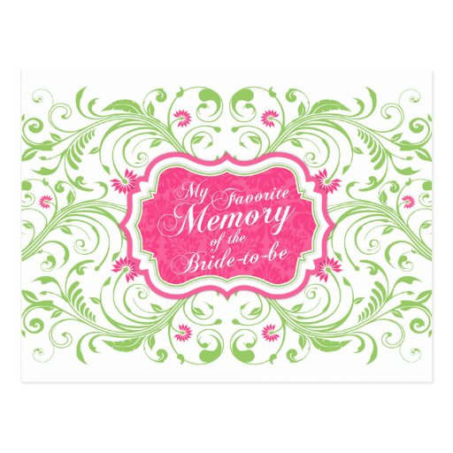 Pink Green Floral Memory Card for the Bride Postcards