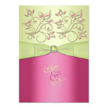 "Pink, Green Floral Monogram Wedding Invitation 5"" X 7"" Invitation Card"