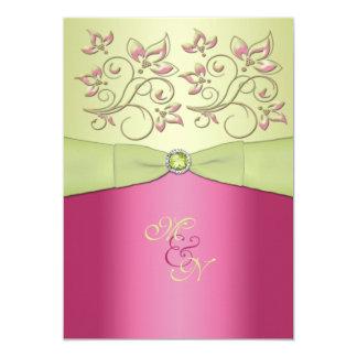 Pink, Green Floral Monogram Wedding Invitation