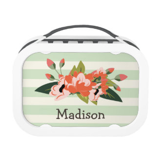 Pink & Green Floral; Pastel Green Stripes Lunch Box