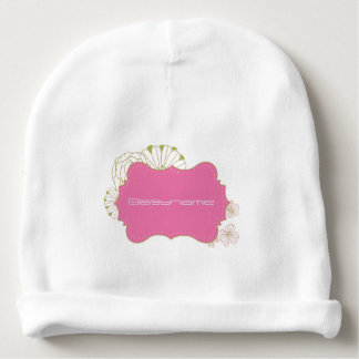 Pink & Green Floral Quatrefoil Personalized Baby Beanie