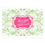 Pink Green Floral Recipe Card for the Bride Post Cards