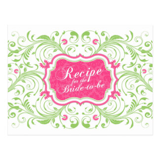 Pink Green Floral Recipe Card for the Bride Postcard