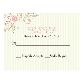 Pink & Green Floral Stripe Wedding RSVP Post Card