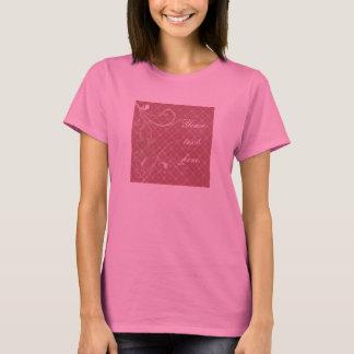 Pink & Green Floral Swirls on Pink Pattern T-Shirt