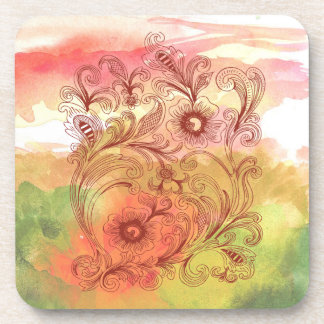 Pink Green Floral Watercolor Coaster