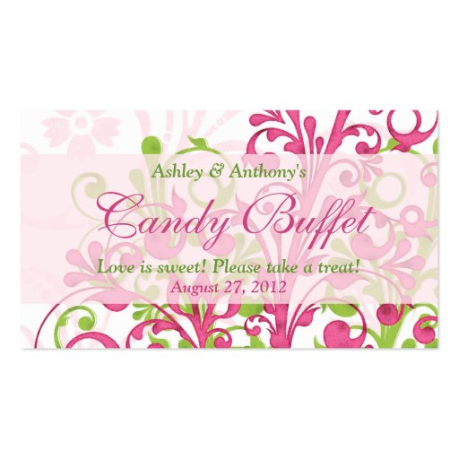 Pink Green Floral Wedding Candy Buffet Gift Cards Double-Sided Standard Business Cards (Pack Of 100)