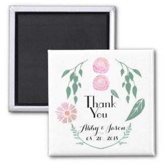 Pink Green Floral Wedding Favor Thank You Magnet