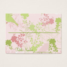 Pink & Green Floral Wedding Table Number Cards at Zazzle