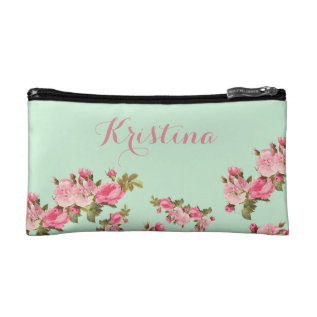 Pink Green Floral With Name Makeup Bag at Zazzle