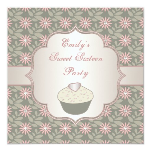 Pink Green Flower Cupcake Sweet Sixteen Party 5.25x5.25 Square Paper Invitation Card
