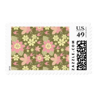 Pink & Green Flowers & Birds Stamp