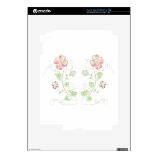 Pink-Green-Flowers-Watercolor Decal For iPad 2