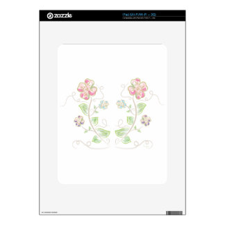 Pink-Green-Flowers-Watercolor Skins For iPad