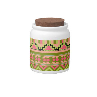 Pink Green Geo Abstract Aztec Tribal Print Pattern Candy Dishes