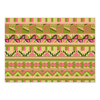 Pink Green Geo Abstract Aztec Tribal Print Pattern Card