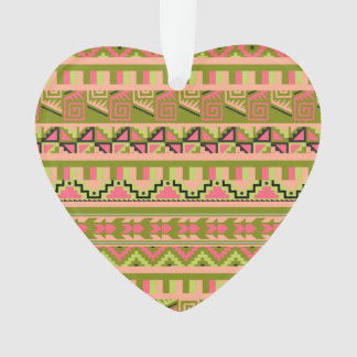 Pink Green Geo Abstract Aztec Tribal Print Pattern Ornament