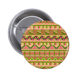 Pink Green Geo Abstract Aztec Tribal Print Pattern Pinback Button