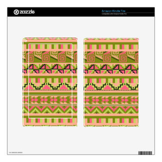 Pink Green Geo Abstract Aztec Tribal Print Pattern Skin For Kindle Fire