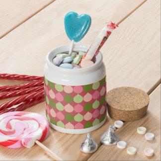 Pink Green Geometric Ikat Teardrop Circles Pattern Candy Dish