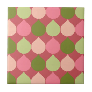 Pink Green Geometric Ikat Teardrop Circles Pattern Ceramic Tile