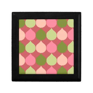 Pink Green Geometric Ikat Teardrop Circles Pattern Trinket Boxes